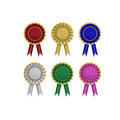 Collection of prize label with ribbon with clipping path isolated on white Stock Images