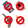 Collection of prohibiting sign Stock Images