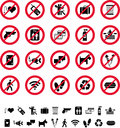 Collection prohibition signs Royalty Free Stock Photo