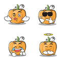 Collection of pumpkin character cartoon style set