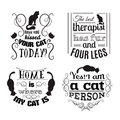 Collection of quote typographical background about cats