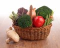 Collection raw vegetables wood Stock Photo