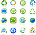Collection of recycle icons and logos Stock Image