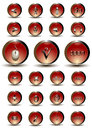 Collection of red glossy buttons with web and mathematical symbols on a white background Stock Photography