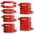 Collection of red with gold tapes vector ribbons on the white background Royalty Free Stock Photography