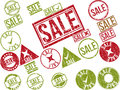 Collection of 22 red grunge rubber stamps with text Royalty Free Stock Photo
