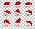 Collection of Red Santa Claus Hats isolated on transparent background. Set. Vector Realistic Illustration. Royalty Free Stock Photo