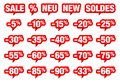 Set Of Red Speech Bubbles Sale Minus And Different Words
