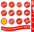Collection of red stickers Royalty Free Stock Photography