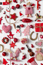 Collection of red and white checkered christmas decoration on wo Royalty Free Stock Photo