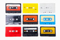 Collection of retro audio cassettes Stock Images