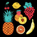 Collection of retro fruits vintage vector set of fruits Stock Photo