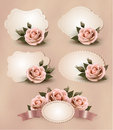 Collection of retro greeting cards with pink rose Stock Image