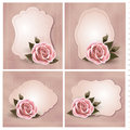 Collection of retro greeting cards with pink rose vector illustration Stock Image
