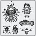 Collection of retro motorcycle labels, emblems, badges and design elements. Vintage style.