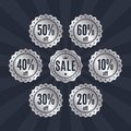 Collection of retro silver SALE badges, stamps, stickers, tags, labels. Product promotion. Vector.