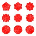 Collection retro stars shapes. Red sparkles. Vintage postal stamps and postmarks Royalty Free Stock Photo