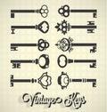 Vintage Key Silhouettes Royalty Free Stock Photo