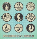 Collection of retro style pregnancy labels and icons Royalty Free Stock Photos
