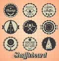 Collection of retro style shuffleboard labels and icons Stock Photography