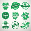 Collection of retro vintage green bio ecology design labels see more illustrations in my portfolio Stock Photo