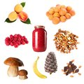 Collection of ripe berry fruits nuts mushroom Stock Image