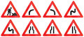 Collection of Road Signs Used in Denmark Royalty Free Stock Photo