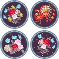 Collection of round doilies with bouquets of gardening flowers and fairy peacock with ornamental paisley frames.