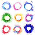 Collection of round multicolored frame with grunge