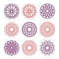 Collection of round ornaments vector illustration Royalty Free Stock Images