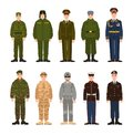 Collection of Russian and American military people or personnel dressed in various uniform. Bundle of soldiers of Russia