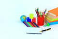 Collection school accessories creative background Stock Photo