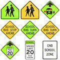 Collection of school signs used in the USA Royalty Free Stock Photo