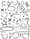 Collection of scribble design element isolated elements from white background Royalty Free Stock Photography