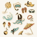 Collection of sea beach object vector illustration Stock Photography