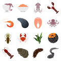 Collection of seafood icons