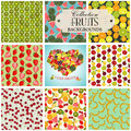 Collection of seamless backgrounds and heart on the topic of fru fruits illustration Royalty Free Stock Photo