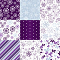 Collection seamless christmas patterns pastel with snowflakes butterflies and strips vector Royalty Free Stock Images