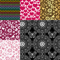 Collection seamless colorful patterns pastel with flowers butterflies and hearts vector Stock Photos