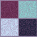 Collection of seamless patterns with hearts Stock Photo