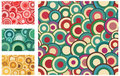 Collection of seamless retro patterns with circles Stock Images