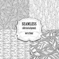 Collection of seamless vector backgrounds with leafs Royalty Free Stock Photo