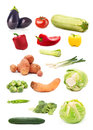Collection of seasonal vegetable images isolated on white backgr background healthy eating concept Royalty Free Stock Photography