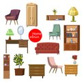 Collection set of elements. designer trendy furniture. table chair sofa lamp mirror plant armchair. modern and retro Royalty Free Stock Photo