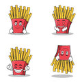 Collection set french fries cartoon character
