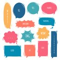 Collection set of hand drawing frame border, blank speech bubble balloon, think, speak, talk, text box, banner Royalty Free Stock Photo