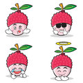 Collection set of lychee cartoon character style