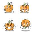 Collection set pumpkin character cartoon style