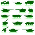 Collection set of tanks of guns Royalty Free Stock Image