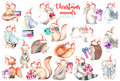 Collection, set of watercolor cute Christmas forest animals illustrations